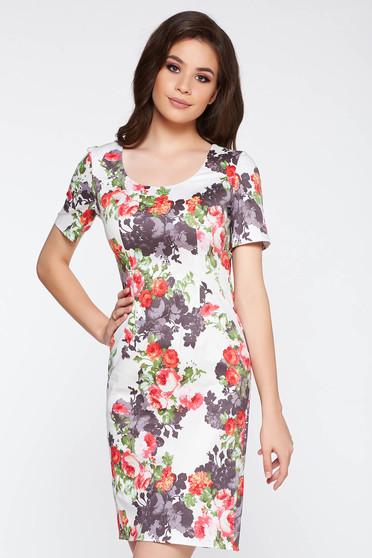 Rochie alba casual cu un croi mulat bumbac usor elastic cu imprimeuri florale