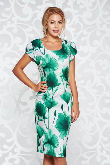 Rochie verde office tip creion cu imprimeuri florale din material usor elastic