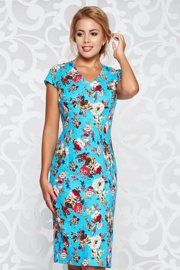 Rochie albastra tip creion cu imprimeuri florale din material neelastic