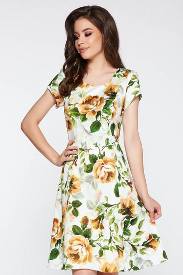 Rochie maro de zi midi in clos din bumbac cu imprimeuri florale