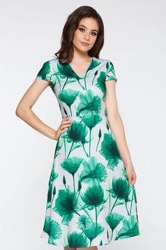 Rochie verde eleganta in clos din material usor elastic cu imprimeuri florale cu decolteu in v