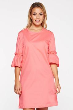 Rochie StarShinerS roz scurta casual cu croi larg din bumbac neelastic