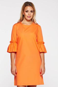 Rochie StarShinerS portocalie scurta casual cu croi larg din bumbac neelastic