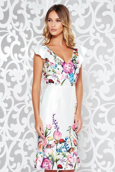 Rochie StarShinerS alba eleganta din material satinat cu decolteu in v si volanase la baza rochiei