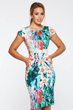 Rochie verde de zi tip creion bumbac usor elastic cu imprimeuri florale