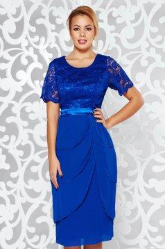 Rochie albastra de ocazie midi din dantela cu volanase