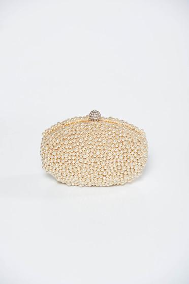 Geanta dama crem plic eleganta cu maner lung tip lantisor cu aplicatii cu perle