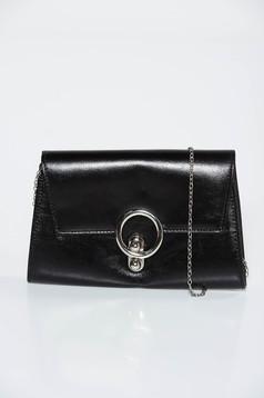 Geanta dama neagra plic din piele ecologica accesorizata cu lant metalic