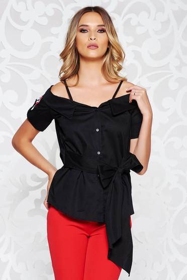 Bluza dama SunShine neagra casual cu umeri decupati accesorizata cu cordon