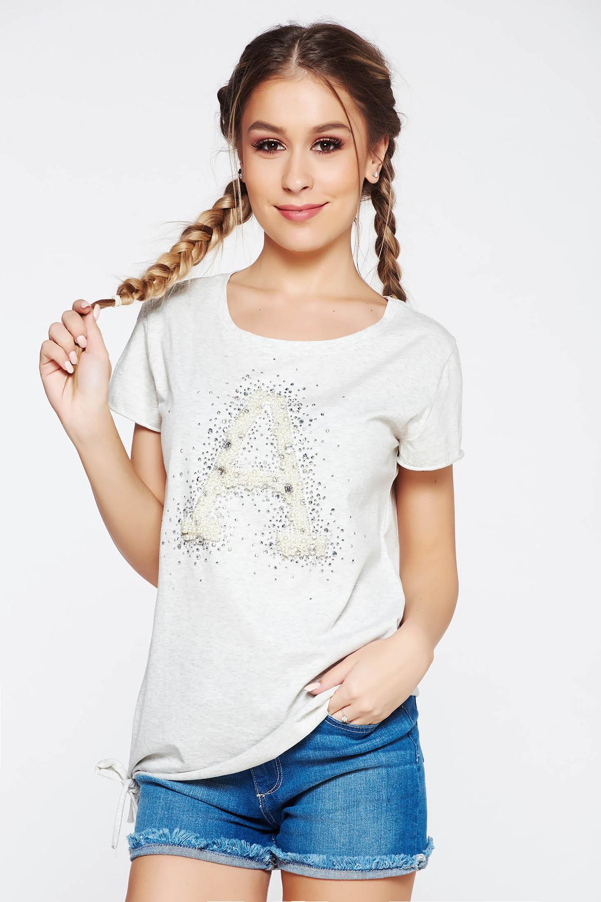 Tricou SunShine gri casual cu croi larg din bumbac elastic cu aplicatii cu pietre strass si perle