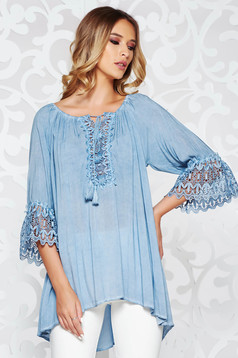 Bluza dama SunShine albastra-deschis casual cu croi larg din material vaporos cu maneci clopot din dantela