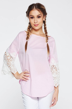 Bluza dama SunShine rosa casual cu croi larg din bumbac cu maneci din dantela