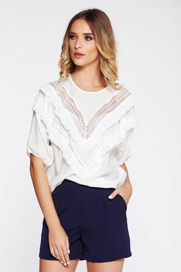 Bluza dama SunShine alba casual cu croi larg din material vaporos cu volanase si maneci largi