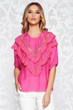 Bluza dama SunShine roz casual cu croi larg din material vaporos cu volanase si maneci largi