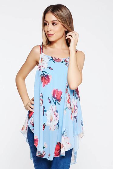 Top SunShine albastru-deschis casual cu croi larg din voal captusit pe interior cu imprimeuri florale