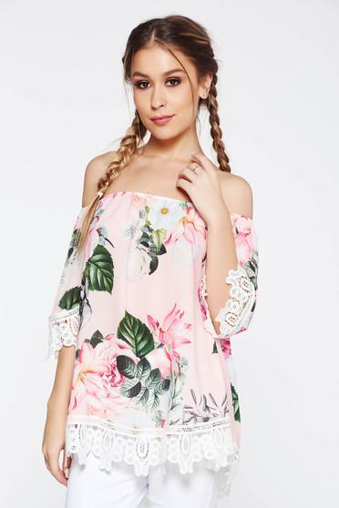 Bluza dama SunShine rosa casual cu croi larg cu umeri goi si aplicatii de dantela tricotata