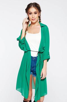 Cardigan SunShine verde casual din voal cu maneci lungi si snur in talie
