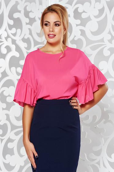 Bluza dama StarShinerS fuchsia eleganta cu croi larg material subtire cu maneci largi