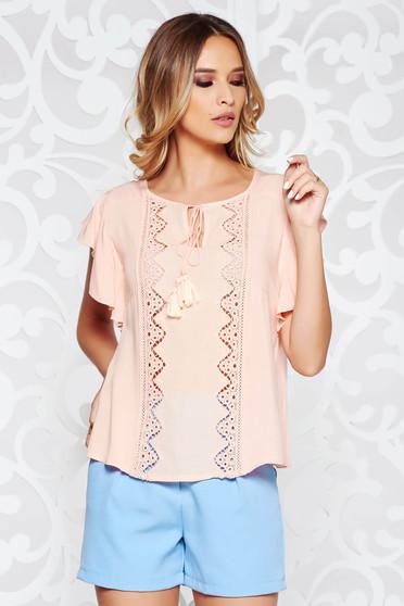 Bluza dama piersica casual cu croi larg din material vaporos si transparent cu maneci largi