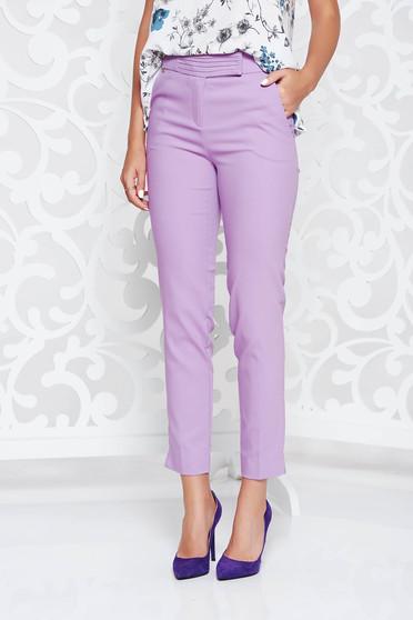Pantaloni lila office conici cu talie medie si buzunare in fata