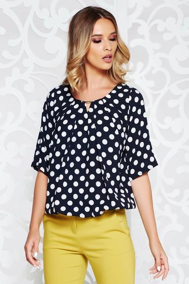 Bluza dama albastra-inchis office cu croi larg din material vaporos cu buline si elastic in talie