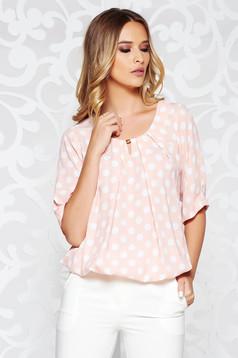 Bluza dama rosa office cu croi larg din material vaporos cu buline si elastic in talie