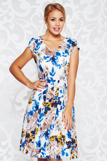 Rochie albastra de zi in clos din material vaporos usor elastic cu decolteu in v