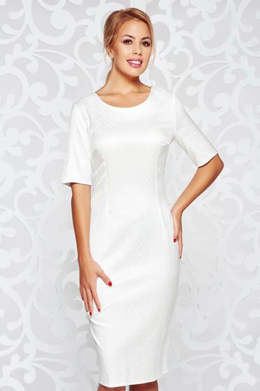Rochie alba eleganta midi tip creion din material usor elastic cu maneci scurte