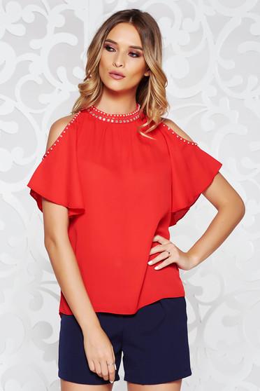 Bluza dama StarShinerS rosie eleganta cu croi larg din voal cu umeri decupati cu aplicatii cusute manual