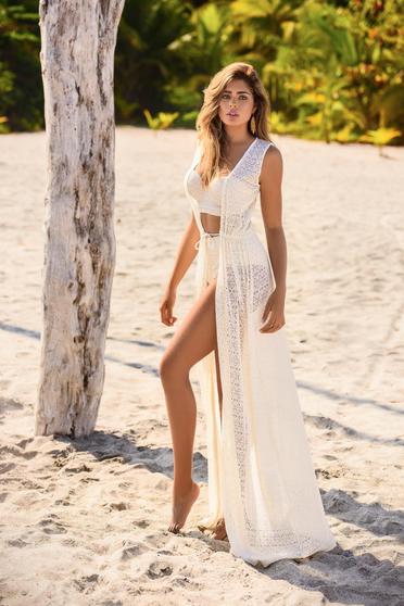 Rochie Cosita Linda nude de plaja cu croi larg din dantela tricotata cu snur in talie