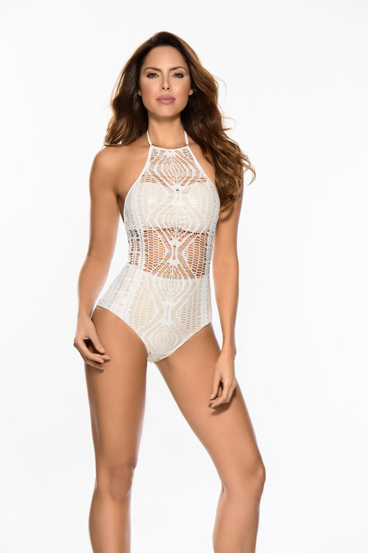 Costum de baie Cosita Linda nude de lux intreg din dantela tricotata cu spatele gol
