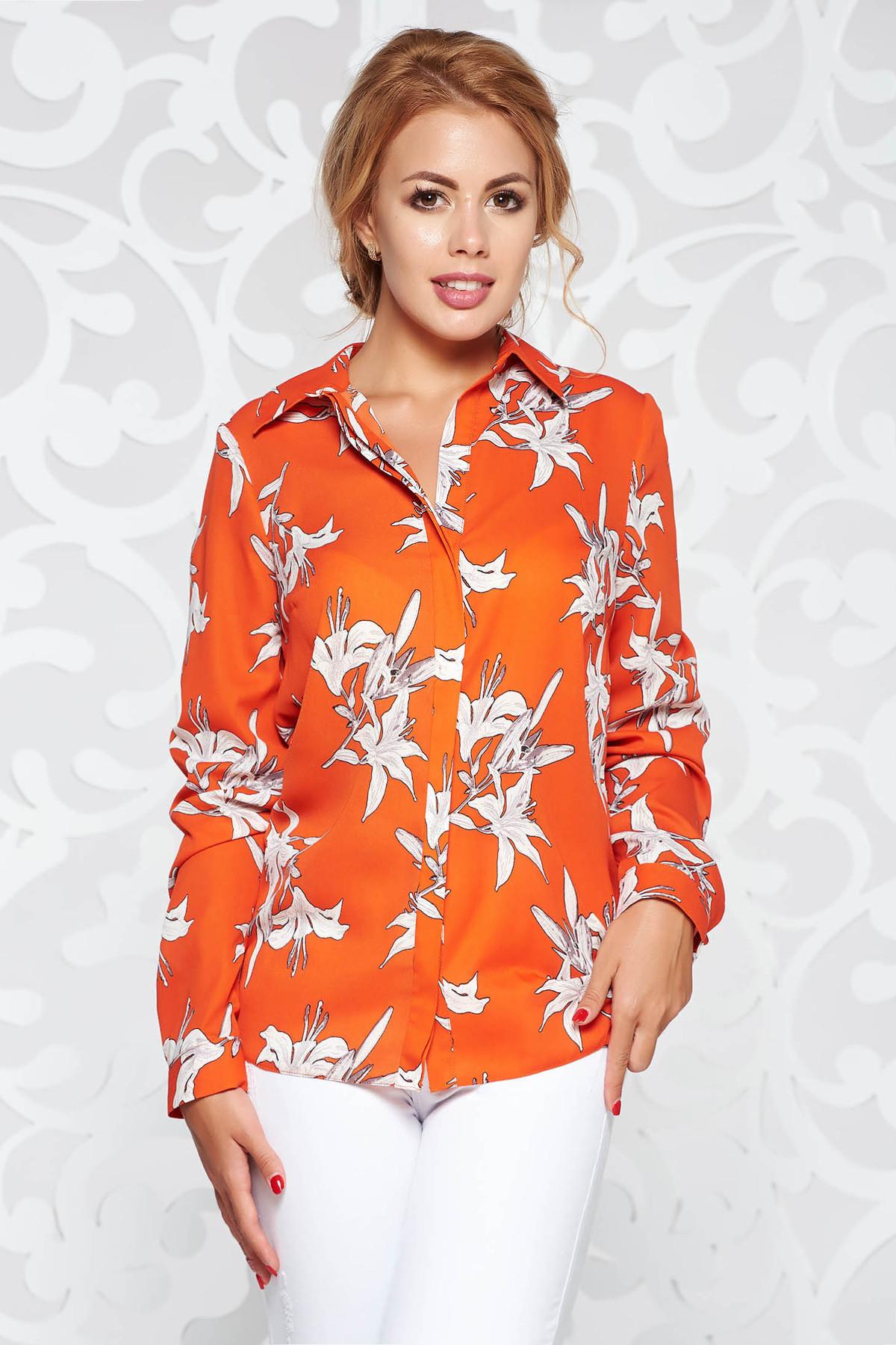 Bluza dama StarShinerS portocalie casual din material fin la atingere cu guler ascutit si maneca lunga