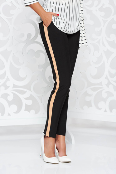 Pantaloni StarShinerS negri office conici din stofa subtire usor elastica cu buzunare si talie medie