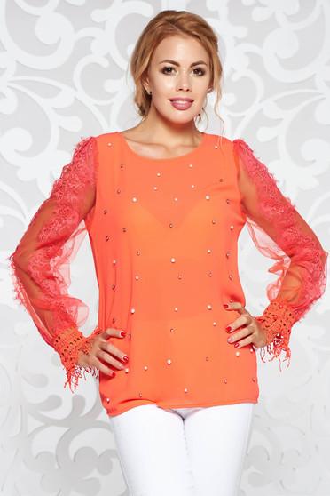 Bluza dama StarShinerS corai eleganta din voal cu aplicatii cu perle si maneci din dantela