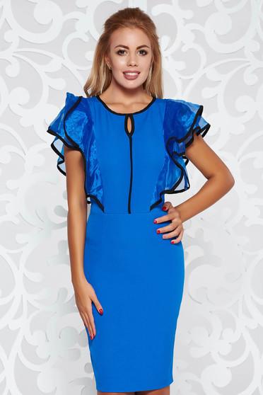 Rochie albastra eleganta tip creion din material usor elastic cu volanase