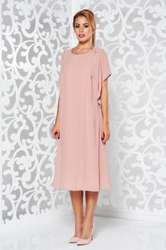Rochie rosa eleganta cu croi larg din voal captusita pe interior cu maneci largi