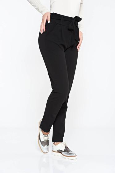 Pantaloni SunShine negri casual cu talie inalta din material usor elastic cu buzunare