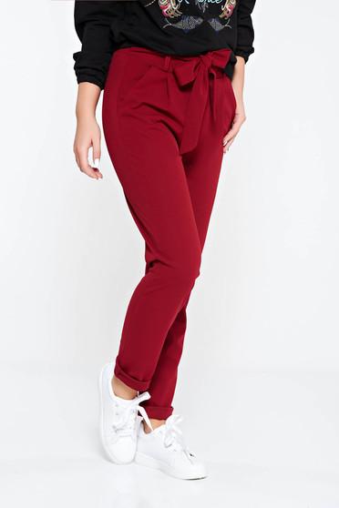 Pantaloni SunShine visinii casual cu talie inalta din material usor elastic cu buzunare