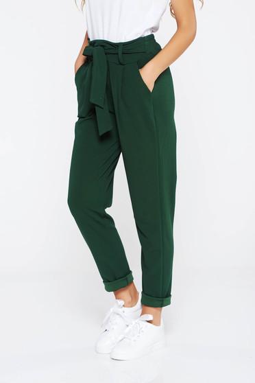 Pantaloni SunShine verde inchis casual cu talie inalta din material usor elastic cu buzunare