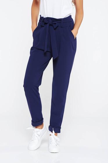 Pantaloni SunShine albastri-inchis casual cu talie inalta din material usor elastic cu buzunare