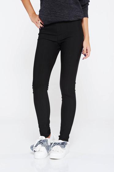 Pantaloni SunShine negri casual cu un croi mulat din material elastic cu talie inalta