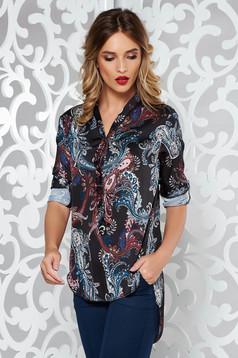 Bluza dama SunShine neagra eleganta asimetrica cu croi larg din material satinat cu maneci lungi