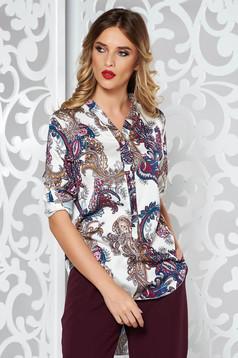 Bluza dama SunShine alba eleganta asimetrica cu croi larg din material satinat cu maneci lungi