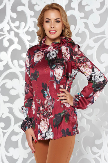 Bluza dama SunShine visinie eleganta cu croi larg plisata din material satinat cu maneci lungi