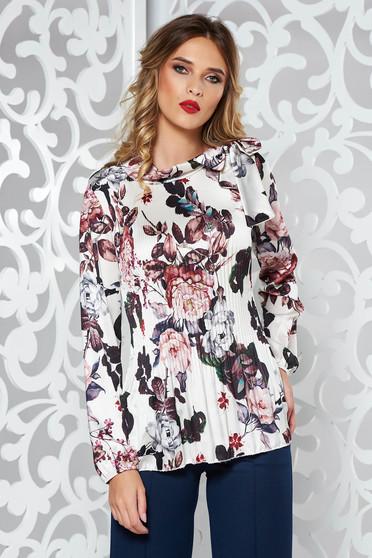 Bluza dama SunShine alba eleganta cu croi larg plisata din material satinat cu maneci lungi