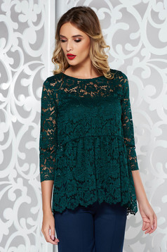 Bluza dama SunShine verde-inchis eleganta cu croi larg din dantela captusita pe interior cu peplum