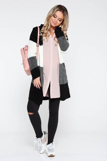 Camasa dama SunShine rosa eleganta cu croi larg din material usor transparent cu maneca lunga