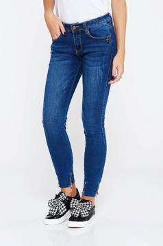 Blugi SunShine albastri casual skinny cu talie medie din bumbac cu buzunare