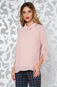 Bluza dama SunShine rosa eleganta plisata cu croi larg din material vaporos si transparent captusita pe interior