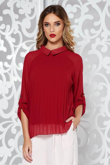 Bluza dama SunShine visinie eleganta plisata cu croi larg din material vaporos si transparent captusita pe interior